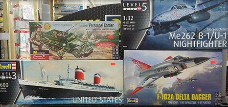 Variety of model kits in different skill level