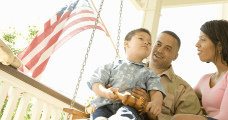 Military guy with his family