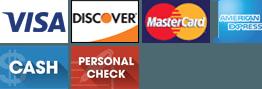 Visa   Discover   MasterCard   American Express   Cash   Personal Check