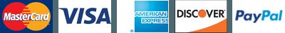MasterCard, Visa, Amex, Discover, Paypal
