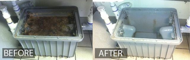 before and after image of a grease trap, full then empty