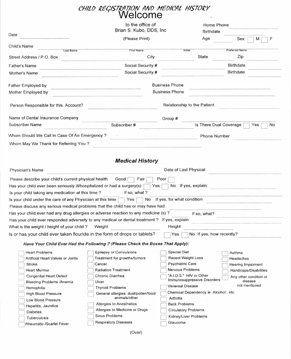 Child and Minor Registration and Health Questionnaire