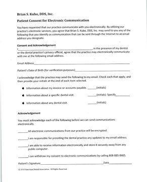Permission to Correspond Via Email Form