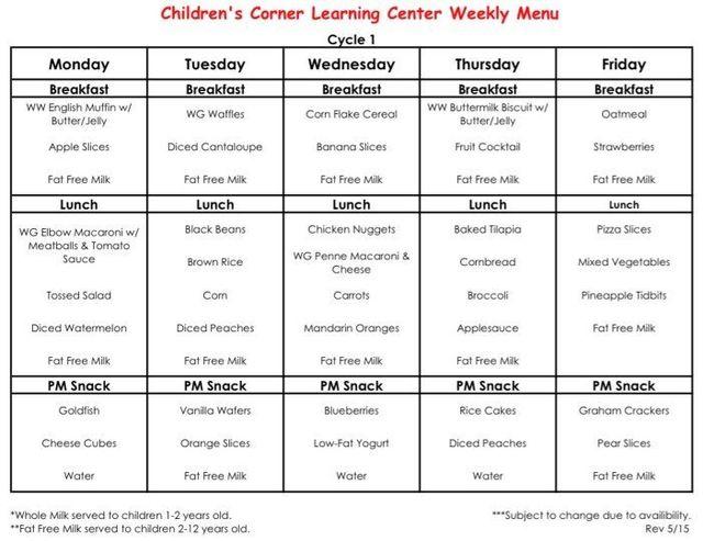 Weekly food menu