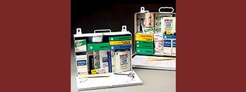 First aid kits, opened for display
