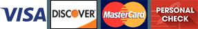 Visa, Discover, MasterCard, Personal Check