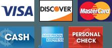 Visa, Discover, MasterCard, Cash, American Express, Personal Check