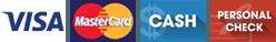 Visa   MasterCard   Cash   Personal Check