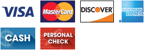 Visa, MasterCard, Discover, AMEX, Cash, Personal Check