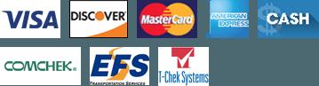 Visa, Discover, Master Card, American Express, Cash, COMCHEK, EFS, T-Chek