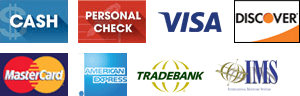 Cash, Personal Check, Visa, Discover, MasterCard, American Express, Tradebank, IMS