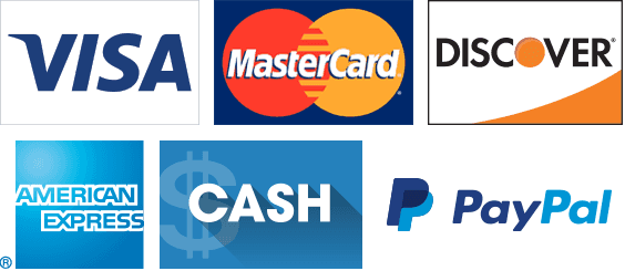 Visa, Master Card, Discover, AmEx, Cash, and Paypal