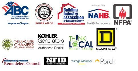 ABC, Roger Wilco, BIA, NAHB, NFPA, LCCI, Kohler Generators, Think Local, Square D, Remodelers Council, NFIB, Vistage Member, Porch