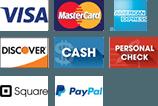 Visa, MasterCard, American Express, Discover, Cash, Personal Check, Square Logo, Paypal