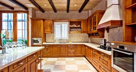 Beautiful kitchen with wooden cabinets