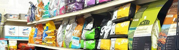 Selection of dry cat food at Healthy Pet