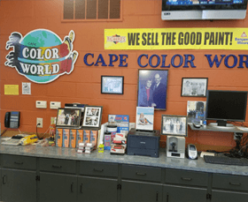 man checking paint