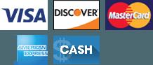 Visa, Discover, MasterCard, American Express, Cash