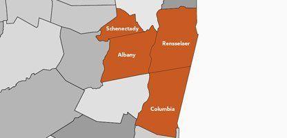 Everlasting Memorials Granite and Bronze Company - Service Area Map