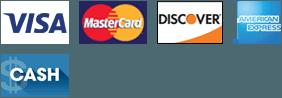 Visa, MasterCard, Discover, AMEX, Cash