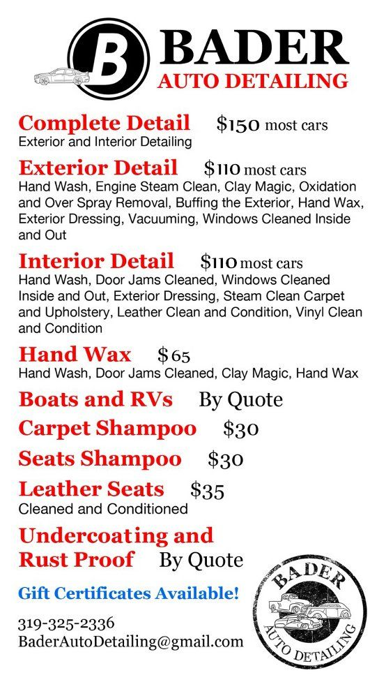 Bader Auto Detailing Pricing Iowa City Ia