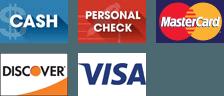 Cash, Personal Check, Discover, MasterCard, Visa