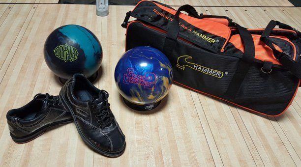 Bowling gear - bowling shoes, bowling balls, carrying bag
