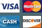 Visa | MasterCard | Discover | Cash