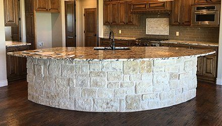 Granite Countertop With Stacked Stone As Legs