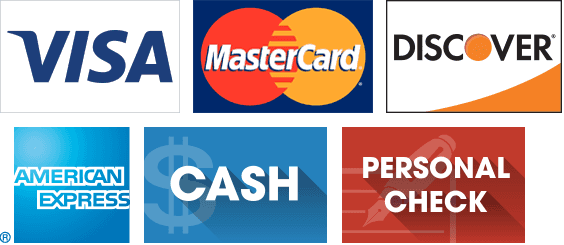 Visa, Master Card, Discover, AmEx, Cash, and Personal Check