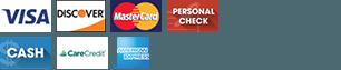 Visa | Discover | MasterCard | Personal Check | Cash | CareCredit | Amex