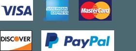 Visa, Amex, MasterCard, Discover, PayPal
