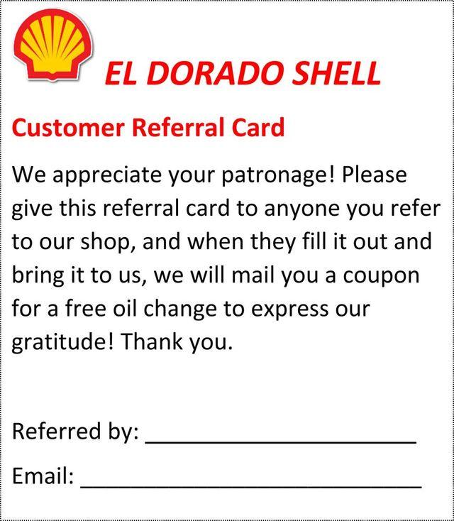 Customer referral card