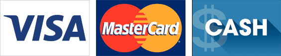 Visa, MasterCard and Cash logos