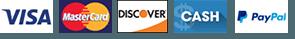 Visa, MasterCard, Discover, Cash, Paypal