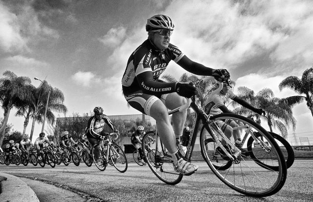 Cyclists racing