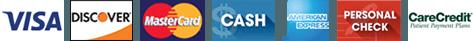 Visa, Discover, MasterCard, Cash, American Express, Personal Check, Care Credit