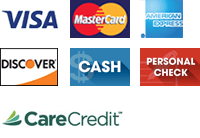 Visa, MasterCard, American Express, Discover, Cash, Personal Check, Care Credit