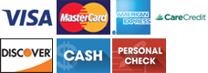 Visa | MasterCard | American Express | CareCredit | Discover | Cash | Personal Check