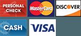 Personal check, Mastercard, Discover, Cash, Visa