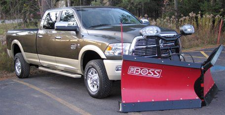 Boss snow plowing truck