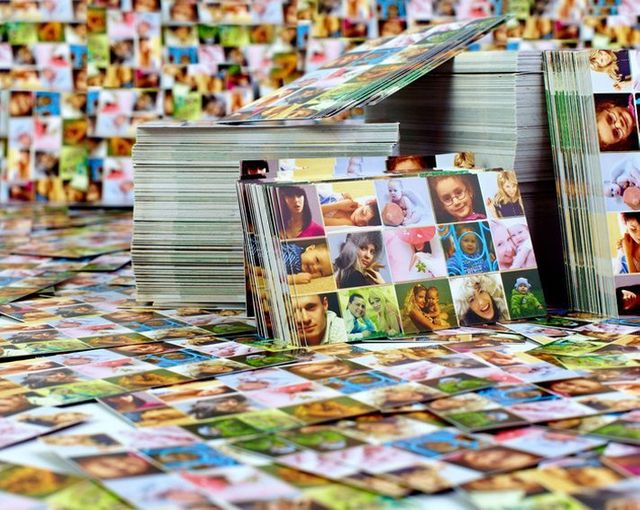 Piles of printed photo collage