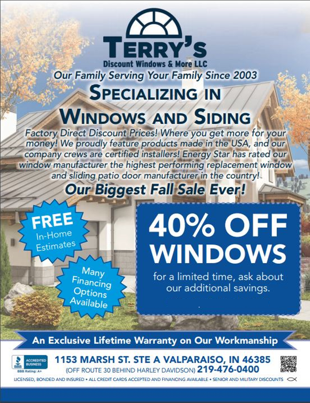 Terry\'s Discount Windows & More LLC Special Offers | Valparaiso