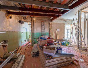 Interior of apartment with materials during restoration