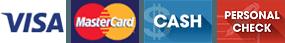 Visa, MasterCard, Cash, Personal Check
