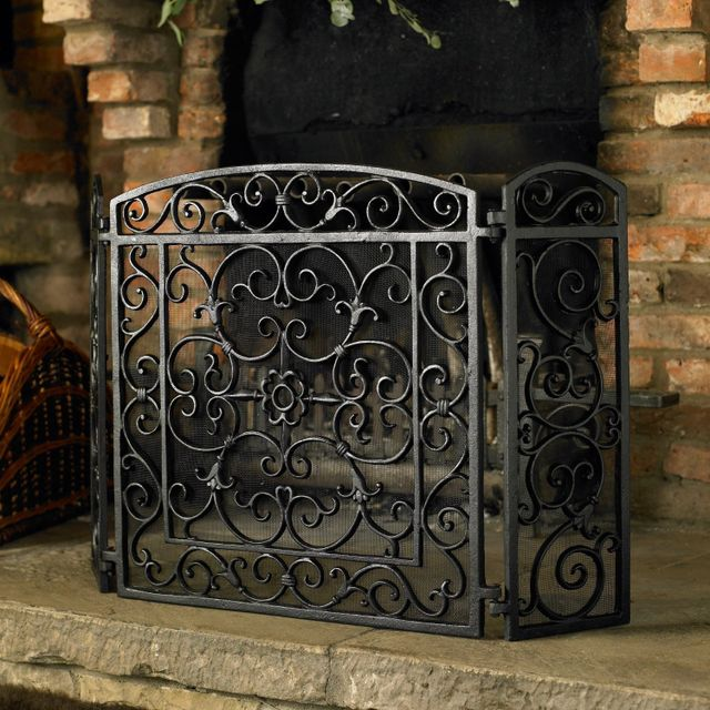 great black stained wrought iron fireplace screen design with 3 panel screen and antique scroll pattern decoration ideas for best screen for your fireplace