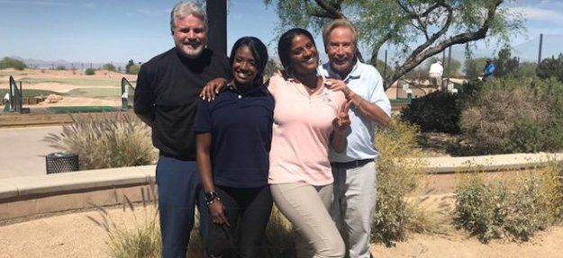 Dennis at Las Vegas Golf Center Photo With Cart Partner Gabby Hart News Reporter From Channel 3