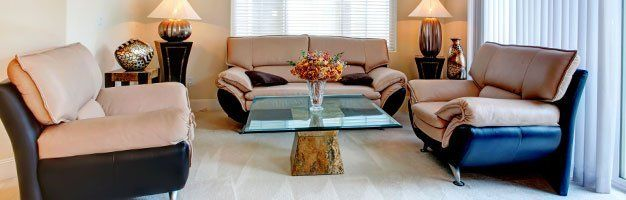 Drawing room with glass tabletop