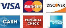 VISA, Mastercard, Discover, Cash, Personal Check, American Express