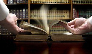 lawyer browsing a book